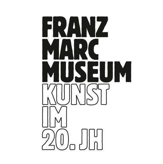 Das schwarz weiße Logo des Franz Marc Museums Kunst im 20. Jahrhundert