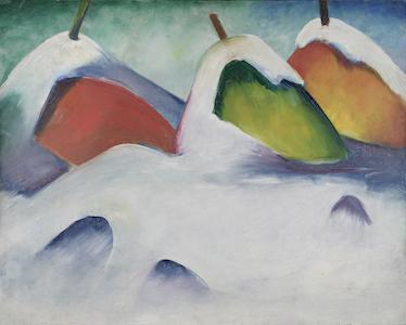 """Das Ölgemelde """"Hocken im Schnee"""" von Franz Marc, 1911, zeigt drei Heuballen die um einen Holzstab gewickelt, tief im Schnee versunken sind. einen roten links, einen grünen in der Mitte und einen orangenden rechts im Hintergrund des Grünen. Ihre Farben stehen im Kontrast zu dem kalten und matten weiß, blauen Schnee, der die untere Hälfte des Bildes einnimmt und der sie auch von oben bedeckt."""